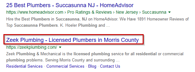 The title tag is also the headline of your listing in search engine results, like this one in Google.