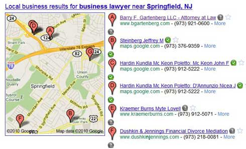 Google Pplaces listtings for a search for business lawyer Springfield NJ