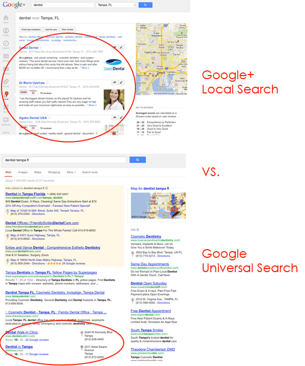 Here's how a search appears for a Google+ Local listing, dep[ending on how the customer searched.