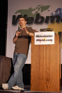Google's Matt Cutts speaks at a web convention.