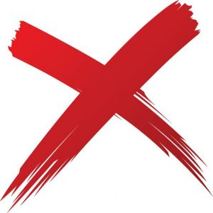 The red X meand don't use the keywords meta tag.