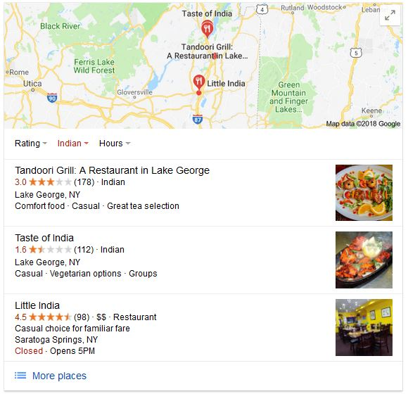 The impact of online review ratings is clear in this Google local 3-pack.