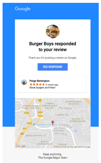 Google will be sending notifications like this to people who review your business.