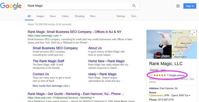 online review stars in Google search results
