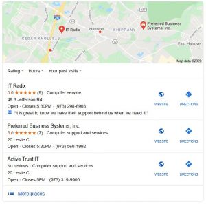 "Google's Local 3-Pack for ""near me"" searches. To show up here, you need to improve local rankings in Google."