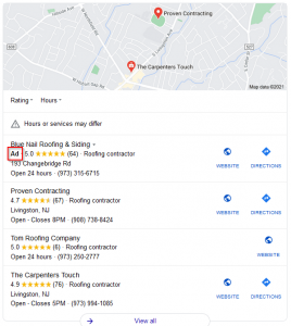 In a local search, Google often showsx the nearest best matches above the normal organic results in the Local 3-Pack.