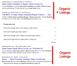 Organic listings are the non-paid listings Google thinks are best focused on your search.